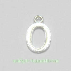 Pandantiv alfabet, argintiu inchis, 12x11x2mm, litera O 1 buc