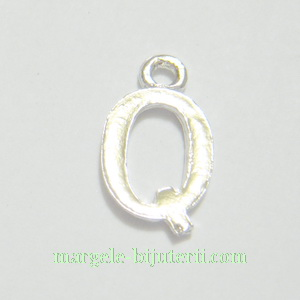 Pandantiv alfabet, argintiu inchis, 12x11x2mm, litera Q 1 buc