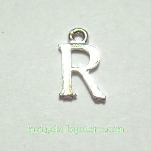 Pandantiv alfabet, argintiu inchis, 12x11x2mm, litera R 1 buc