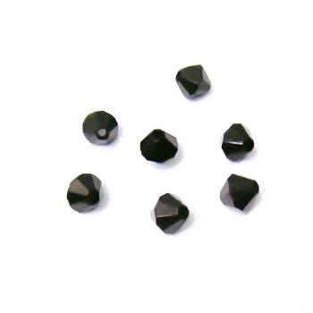 Margele plastic biconice negre 6mm 100 buc