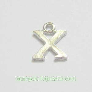 Pandantiv alfabet, argintiu inchis, 12x11x2mm, litera X 1 buc