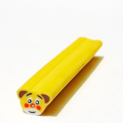 Bete fimo galbene,cu cap de ursulet, 9x9mm, lungime: 5cm 1 buc