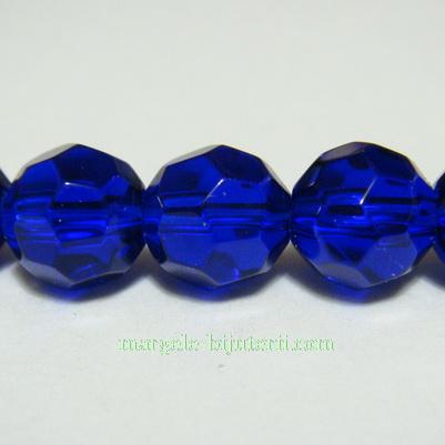Margele din sticla multifete, albastre, 8mm 1 buc