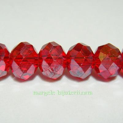 Margele din sticla multifete, rosii AB, 8X6mm 1 buc