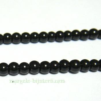 Perle sticla, negre, 3mm- sirag 220-230 buc 1 buc