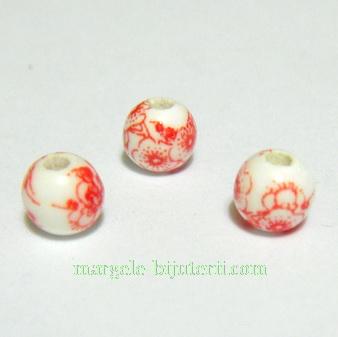 Margele portelan, albe, pictate cu flori rosii, 6mm 1 buc