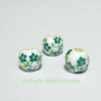 Margele portelan, albe, pictate cu flori verzi, 6mm 1 buc