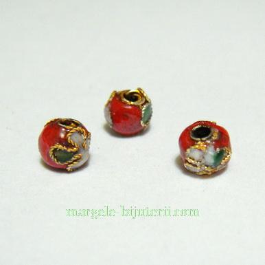 Margele Cloisonne, rosii, 6mm 1 buc