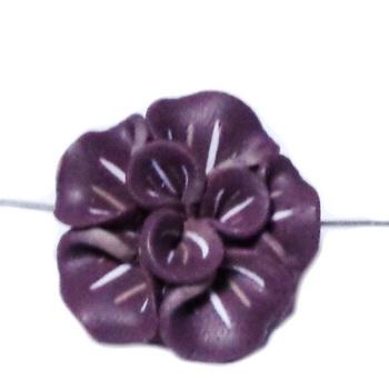 Margele polymer, floare maro cu crem, 25x25x10mm 1 buc