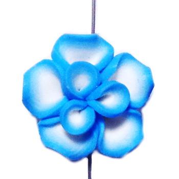 Margele polymer, floare albastra cu alb, 25x25x10mm 1 buc
