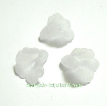 Floari acrilice, frosted, albe, 12x12mm 1 buc