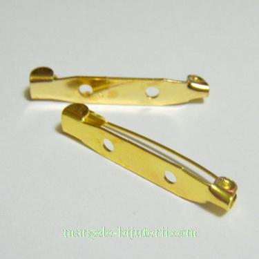 Suport brosa auriu, 30x6mm, cu 2 orificii 1 buc