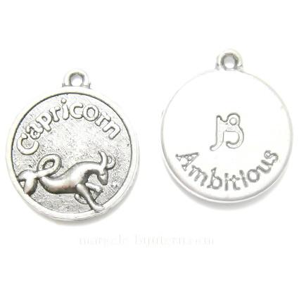 Pandantiv tibetan, zodiac, CAPRICORN, 20x17x3mm 1 buc