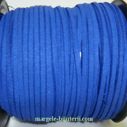 Snur faux suede, albastru cobalt, grosime 3x1.5mm 1 m
