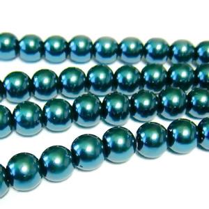 Perle sticla turcoaz inchis, 6mm 10 buc
