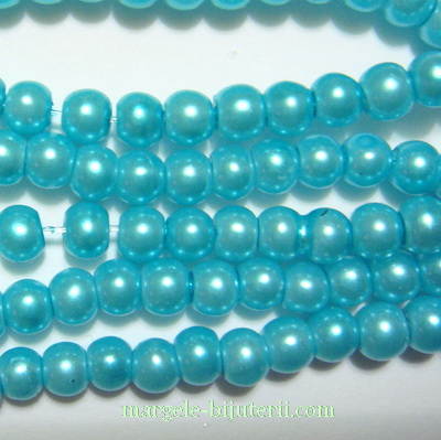 Perle sticla bleu, 4mm 10 buc