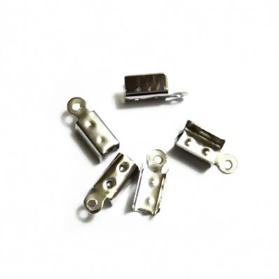 Capat prindere snur, argintiu inchis, 12mm lungime, 4mm grosime 10 buc