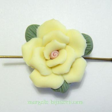 Margele portelan, lucrate manual, floare galbena, 23x11mm 1 buc