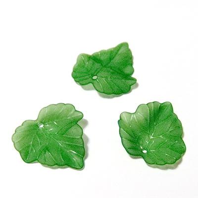 Frunza acrilica, frosted, verde, 24x22x2mm 1 buc