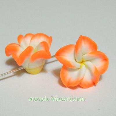 Margele polymer, floare plumeria portocalie, cu 5 petale, 15x9mm 1 buc