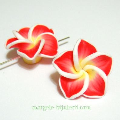 Margele polymer, floare plumeria rosie cu 5 petale, 20mm 1 buc