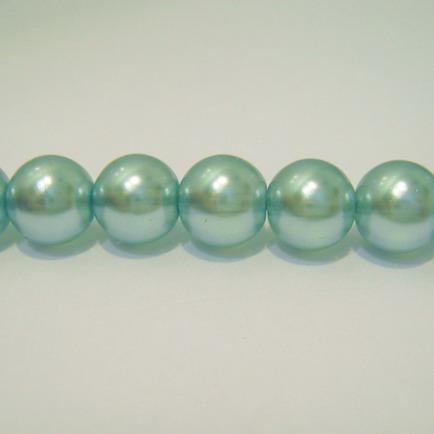 Perle sticla semitransparente albastre 14mm 1 buc