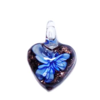 Pandantiv Murano negru cu floare albastra, inima 27x20x11mm 1 buc