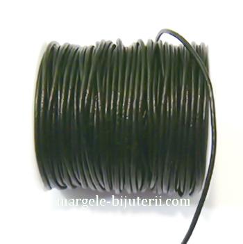 Snur piele naturala, negru, 1 mm 1 m