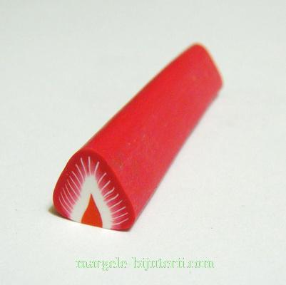Bete fimo rosii, capsuna, 11x11mm, lungime: 5cm 1 buc
