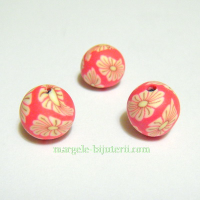 Margele fimo, rosii cu flori albe, 8mm 1 buc