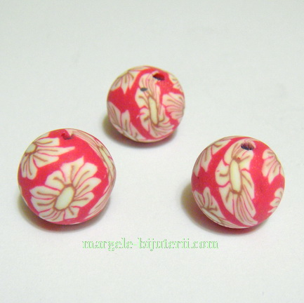 Margele fimo, rosii cu flori albe, 12mm 1 buc