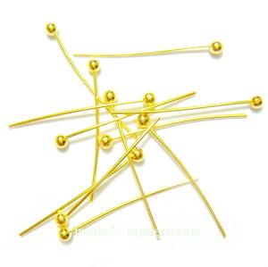 Ace cu bumb, pe baza alama, aurii, 20x0.7mm 50 buc