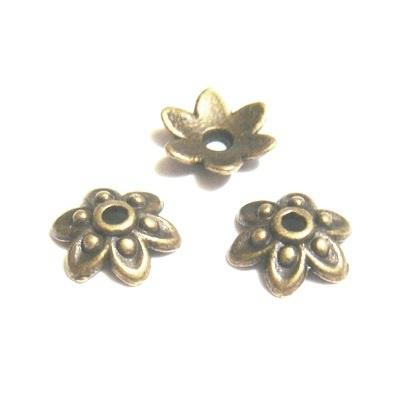 Capacel, bronz antic, floare 6 petale, 9x3mm 1 buc
