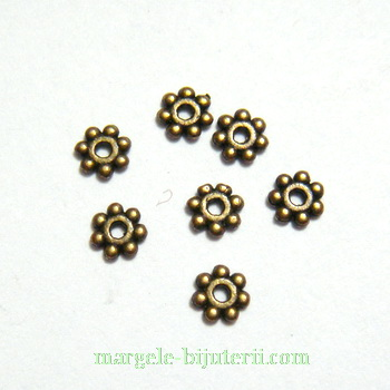 Distantier bronz, floare 4x1mm 10 buc