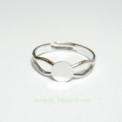 Baza inel, argintie, pe baza alama, latime 3-5mm, platou 6mm 1 buc