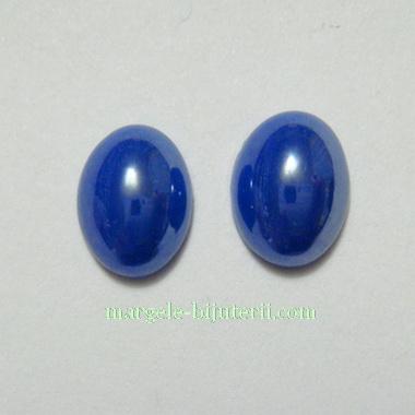 Cabochon sticla, albastru-cobalt, sidefate, 8x6x3mm 1 buc