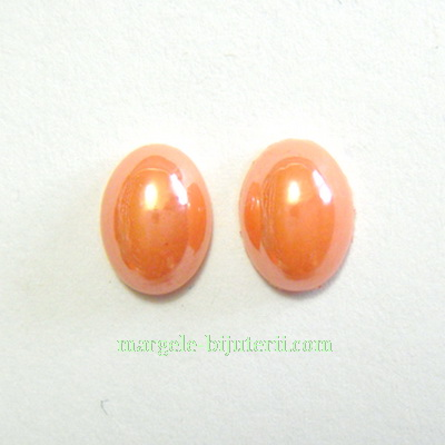 Cabochon sticla, portocaliu-maroniu, sidefate, 8x6x3mm 1 buc
