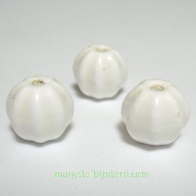 Margele portelan, albe, gravate, 13mm 1 buc