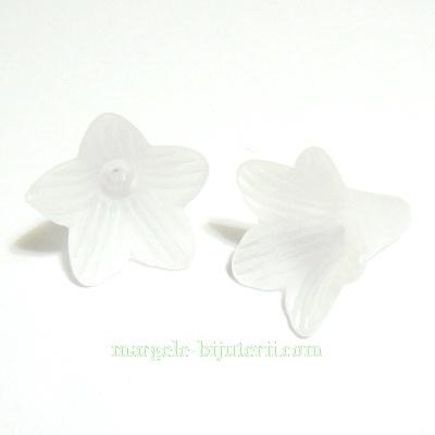 Flori acrilice, frosted, albe, 21x21mm 1 buc