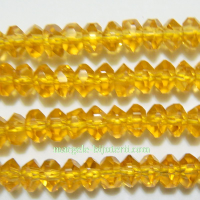 Margele sticla, multifete, auriu inchis, 6x4mm 10 buc