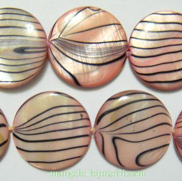 Perle plate, sidef roz cu liniute negre, 20x3mm 1 buc