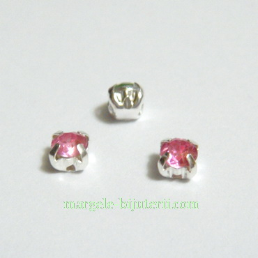 Margele montee rhinestone, plastic, roz, 4x4x4mm 1 buc