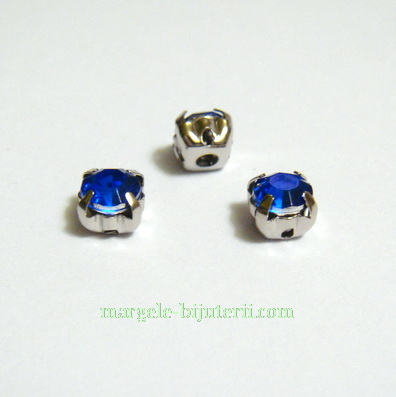 Margele montee rhinestone, plastic, albastre, 5x5x4mm 1 buc