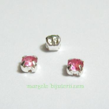 Margele montee rhinestone, plastic, roz, 5x5x4mm 1 buc
