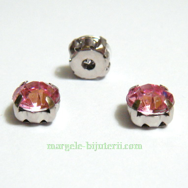 Margele montee rhinestone, plastic, roz, 6x6x5mm 1 buc