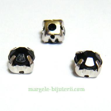 Margele montee rhinestone, plastic, negre, 6x6x5mm 1 buc