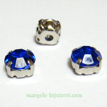 Margele montee rhinestone, plastic, albastre, 8x8x6mm 1 buc
