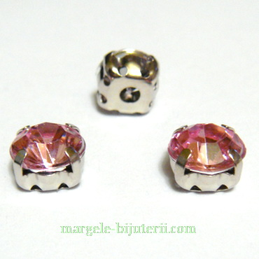 Margele montee rhinestone, plastic, roz, 8x8x6mm 1 buc