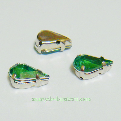 Margele montee rhinestone, plastic, verde deschis, lacrima 10x6x5mm 1 buc