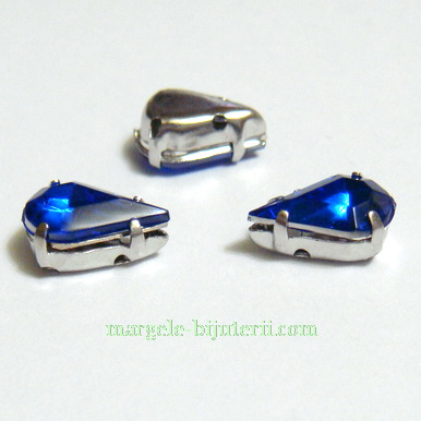 Margele montee rhinestone, plastic, albastre, lacrima 10x6x5mm 1 buc